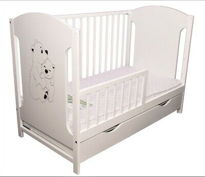 New Wooden Baby Cot/ Junior Bed With Guard Rail!!And Drawer!!! Mattress Option