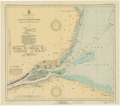 Head of Detroit River Map - Grosse Pointe - St. Clair 1931
