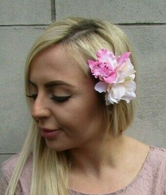 Double Champagne Light Pink Orchid Peony Flower Hair Clip Floral Fascinator 0246