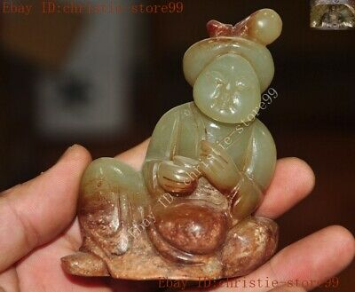 Chinese Hetian old jade Hand carved Tang Dynasty woman beauty goddess statue