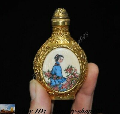 Old Chinese Bronze gold Cloisonne enamel Ancient ladies Figure snuff bottle
