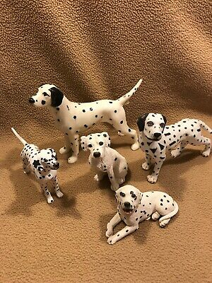 Dalmatian Dog Figurines  lot of 5 - stone critters, porcelain, plastic