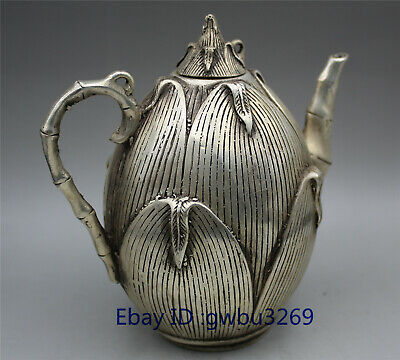 collect China Old Tibet silver handwork bamboo shoots Teapot Qing Dynasty Mark Z
