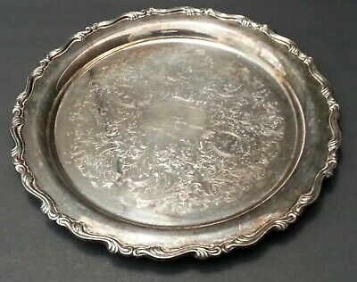 """VTG Silver Plated Round Etched Oneida 12"""" Serving Platter Tray Intricate SCROLL"""