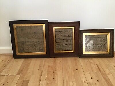 Three Framed 19th Century Samplers From The Family Broomhead .Antique .