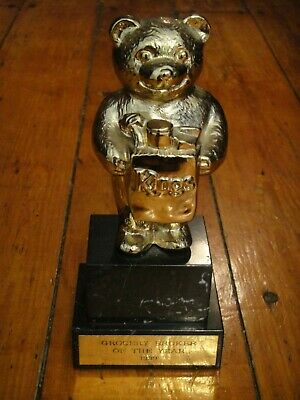 RARE!!! 1999 Kings Grocery Broker Of The Year Trophy Award Bear SOLID 5 Pounds