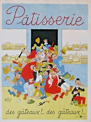 Patisserie | Original  1930s French Lithograph Poster | art by Hubour