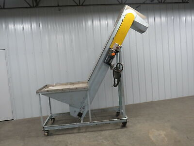 "Steel Parts Hopper Cleated Incline Conveyor Feeder Elevator 36""x42""x 8 Ft"