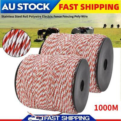 1000m Roll Polywire Electric Fence Fencing Rope Poly Wire Farm Grazing Control
