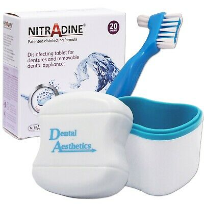 Nitradine, Bath & Denture Brush ~ 20 Cleaning Tablets Dental Appliance Storage
