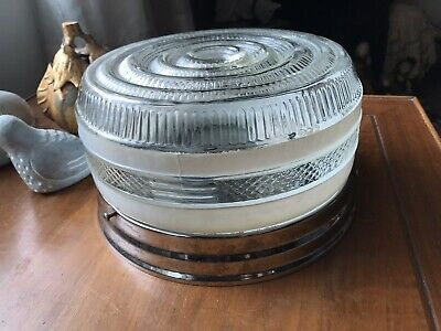Vintage Round Frosted Glass Kitchen Chrome Drum Lamp Light Ceiling Fixture Retro
