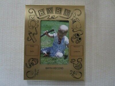 """BABY BIRTH RECORD 3.5x5"""" METAL PICTURE FRAMED"""