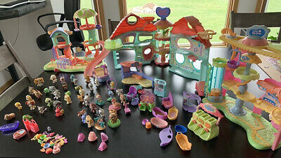 Littlest Pet Shop playground, house, and shops, 43 pets and accessories