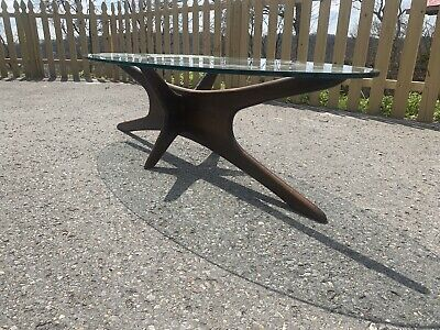 Adrian Pearsall Mid Century Modern Oval Jacks Glass Coffee Table