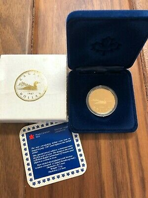 1987 PROOF - Royal Canadian Mint Loonie Dollar Coin - 1st Year Issue w/Box & COA