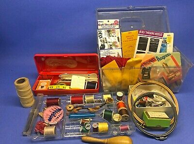 Vintage Lot of Sewing Supplies: Thread, Notions, Needles, Tools w Carrying Cases