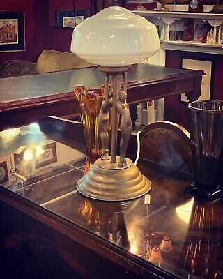 Double Art Deco Double Diana Gilt Lamp Original Glass Shade - **Fully Working**