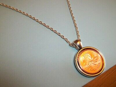 CANADA ONE (1) CENT COIN - SILVER CASED PENDANT NECKLACE - 1962 - 58th BIRTHDAY