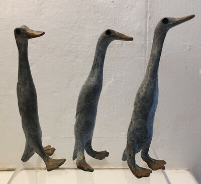 A Charming Runner Duck Family Solid Bronze Sculpture With An Unusual Patina