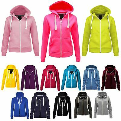 New Kids Children Plain Hooded Sweatshirt Girls Boys Fleece Coloured Hoodie Tops