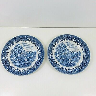 Pair Of Vintage Churchill Side Plates Blue And White