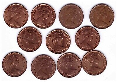 1/2p - 11 coins - All different dates - 1971 - 1982