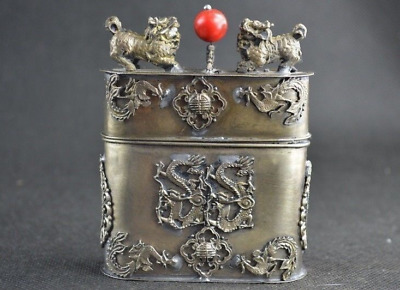 Old Collectibles Handwork Miao Silver Carving Kylin Dragon & Phoenix Tobacco Box
