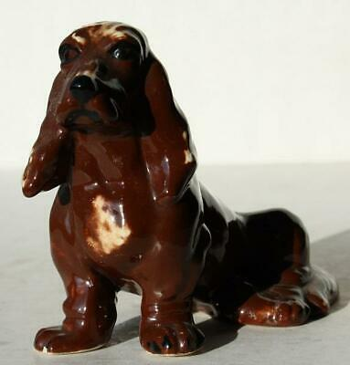 Dachshund Dog Figurine Ceramic-Porcelain Hand Painted Sitting Down Brown-White