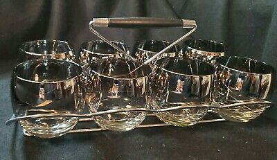 Vintage MCM Roly Poly Glasses Set of 8 Dorothy Thorpe Style Silver Fade Caddy!