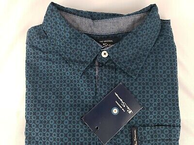 Ben Sherman Blue Circle Print Long Sleeve Shirt Boys Youth Size XL Cotton NEW