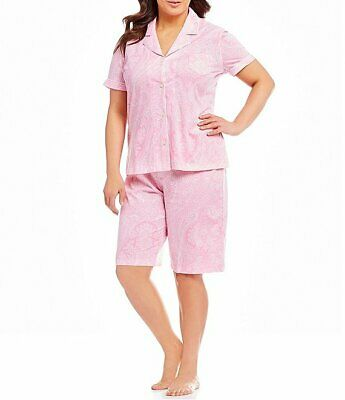 NEW Ralph Lauren Women's Plus Pajama Pink Paisley Cotton Bermuda Shorts PJ set