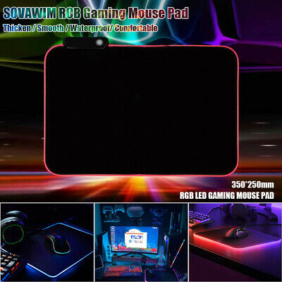 RGB Colorful LED Lighting Gaming Mouse Pad Mat 350*250mm for PC Laptop UK