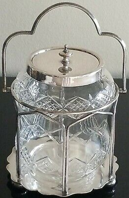 Superb Antique English Silver Plate & Cut Crystal Biscuit Cookie Jar C.1870