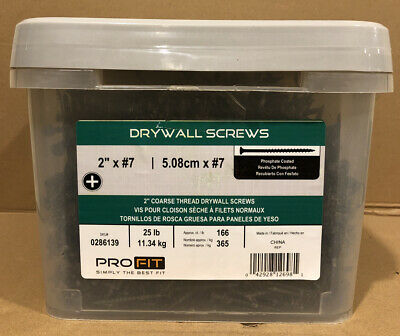 (25 Lbs) ProFIT 0286139 All-Purpose Drywall Screw, #7 Thread, Coarse Sharp Point