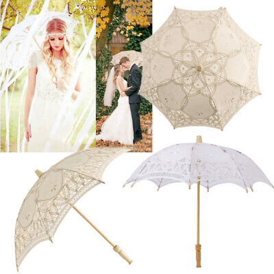 Women Lace Parasol Umbrella Victorian Style Sun Parasol Wedding Party Decoration