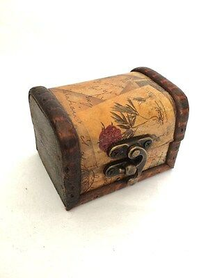 Mini Wooden Storage Box Vintage Floral Jewellery Ring Wedding Favour Chest Small