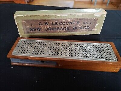W Antique Cribbage Board 1885 C LeCount Ready To Be Framed! Patent Print