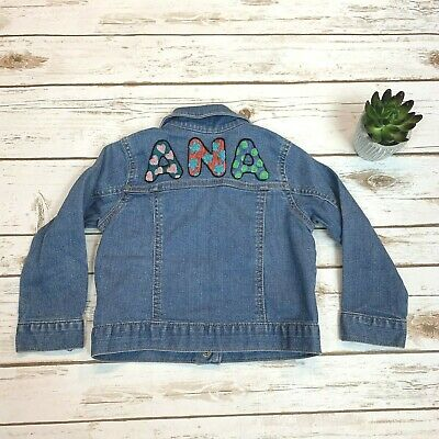 Toddler Girls Jean Jacket Personalized Ana Hand Embroidered Denim Coat Size 3T
