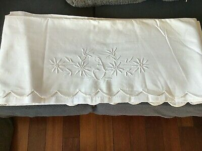 vintage sheet with monogram letter A and edge all scalloped
