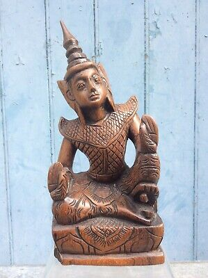 """Vintage Thai Carved Wooden Buddha 8 1/4"""" High, Free Uk Delivery"""