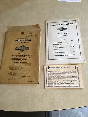 Vtg Briggs & Stratton Engine Operating Instructions Booklet Model 6B-H Warranty