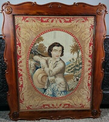 Antique English Needlepoint Man Petit Point 19th C 1800s Victorian Tapestry