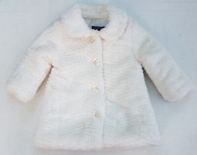 CALVIN KLEIN JEANS cream FAUX FUR fully lined COAT 3606604-99 size 18 mos *NWOT