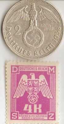 -*us -WW2-steel peny/stamp+silver(.625%)-WWII - *german SILVER EAGLE coin/stamp