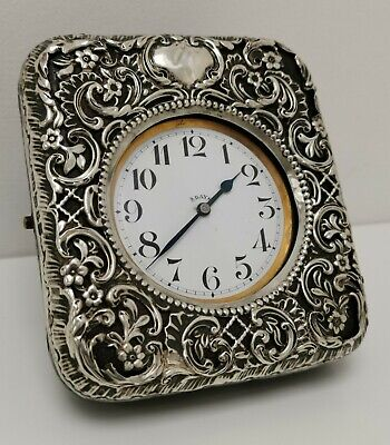 Vtg 1899 Henry Matthew Solid Silver Desk Travel Goliath 8 Day Pocket Watch Clock