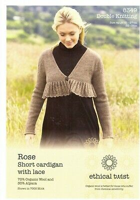 "LADIES~CARDIGAN~THREE-QUARTER SLEEVES~LACE KNITTING PATTERN~SIZE 32-38/"" DK 116"