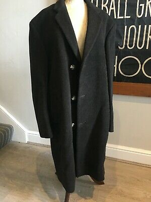 """Vintage brown tweed mens overcoat Newsome 1950's 1960's era Talamade 40"""" chest"""