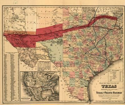 "20"" x 24"" 1873 map of The State of Texas Showing The line and Lands of The Texas"