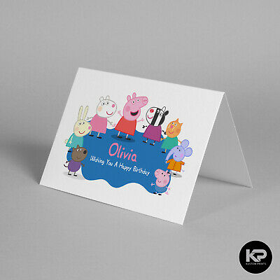 Personalised Name Peppa George Pig Birthday Card Boy Girl Son Daughter (A6)