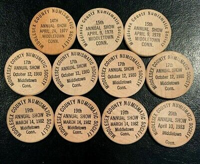 Collector Lot of 11 Vintage WOODEN NICKELS Wood Coins Tokens, Middletown, CT